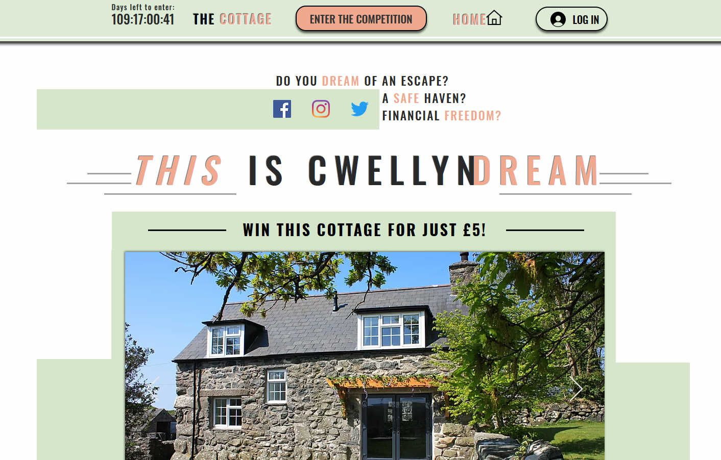 Win a Rural Two Bedroom Stone Cottage in North Wales