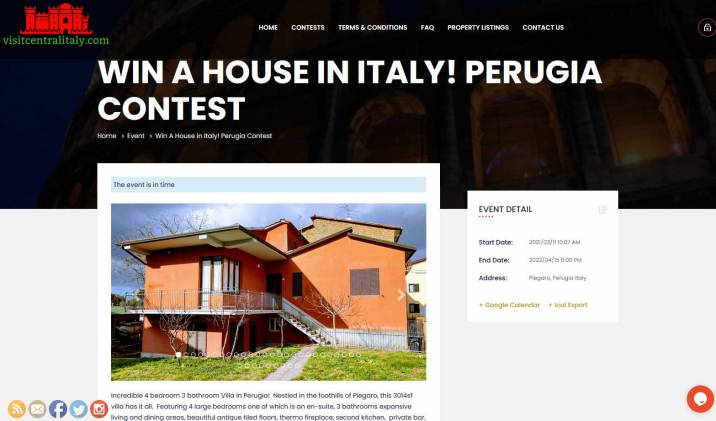 Win a Villa in an Ancient Village in Italian Region of Perugia