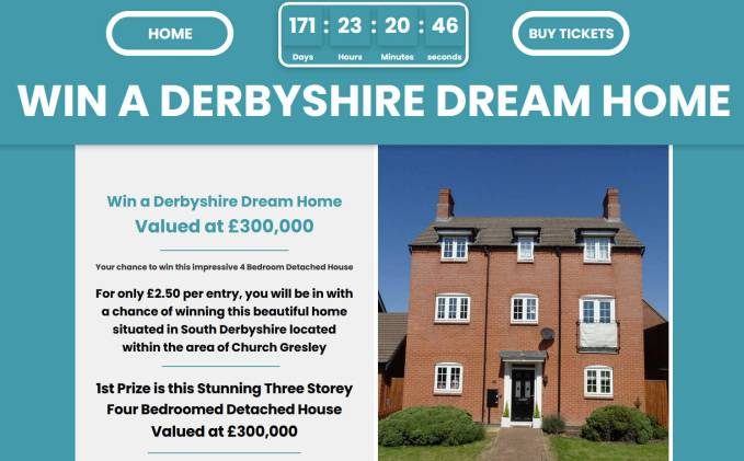 Win a Three Storey Four Bedroomed Detached House in Derbyshire