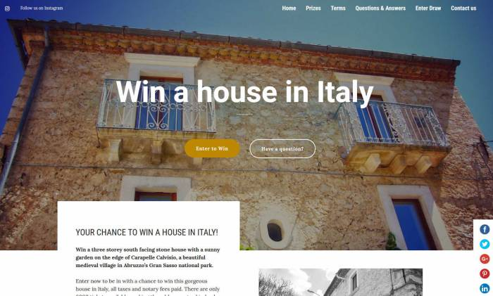 Win a Hilltop Stone House in the Italian Region of Abruzzo